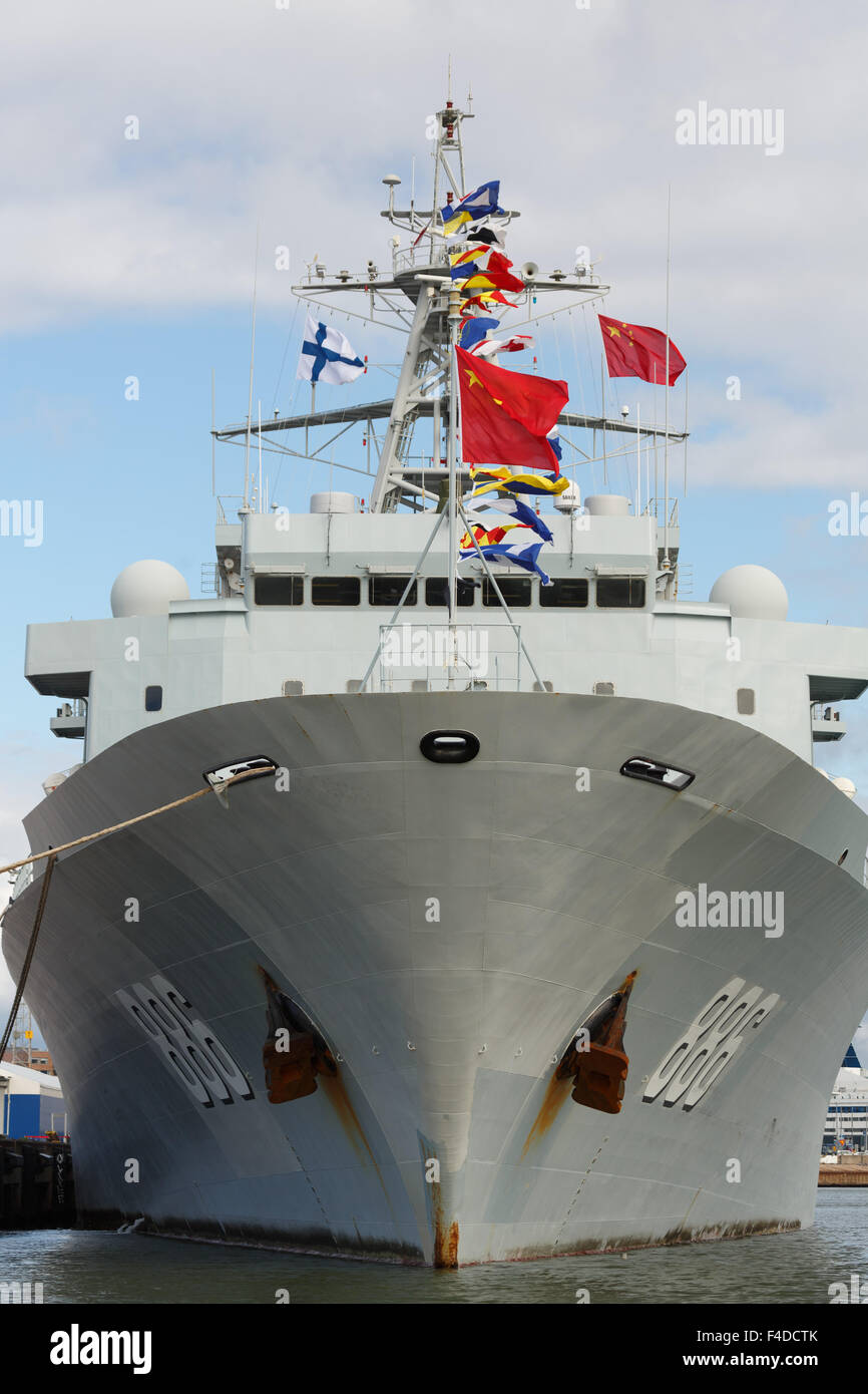 Bow of the replenishment ship AOR Qiandaohu, moored in Helsinki during the very first Chinese naval visit to Finland - Stock Image