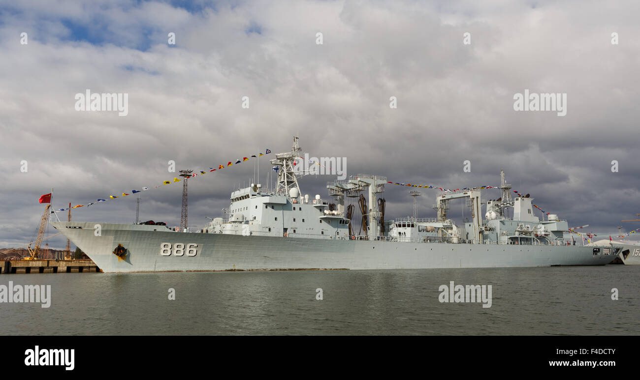 Replenishment ship AOR Qiandaohu (886) moored in Helsinki on the very first Chinese naval visit to Finland in history. - Stock Image