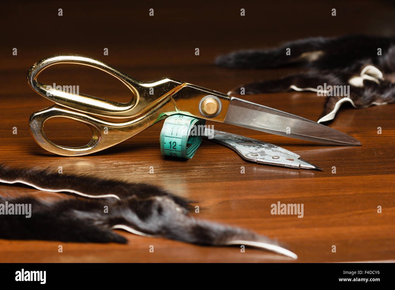 Professional tailor's tools for cutting and sewing, scissors, flexible ruler tape - Stock Image