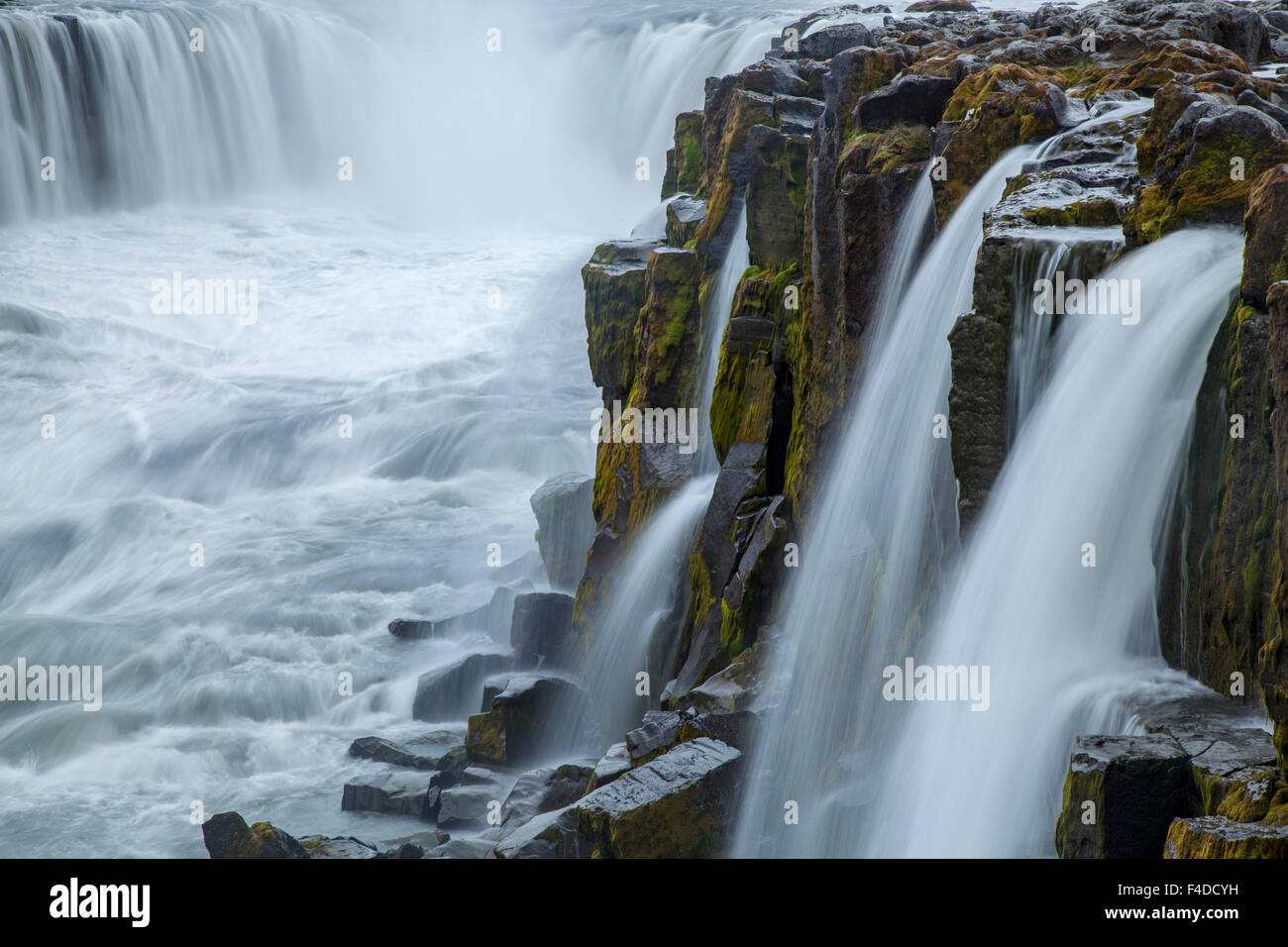 The cliffs and cascades of Godafoss waterfall, Nordhurland Eystra, Iceland. - Stock Image