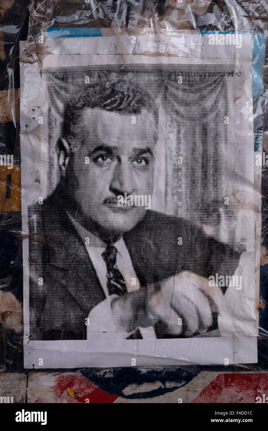 An old photo of Gamal Abdel Nasser Hussein who was the second President of Egypt and the leader of the Egyptian - Stock Image