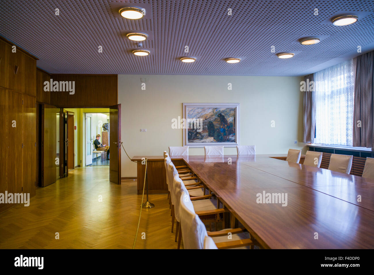 Germany, Berlin, Stasi Museum, DDR-era secret police museum in former secret police headquarters, conference room Stock Photo