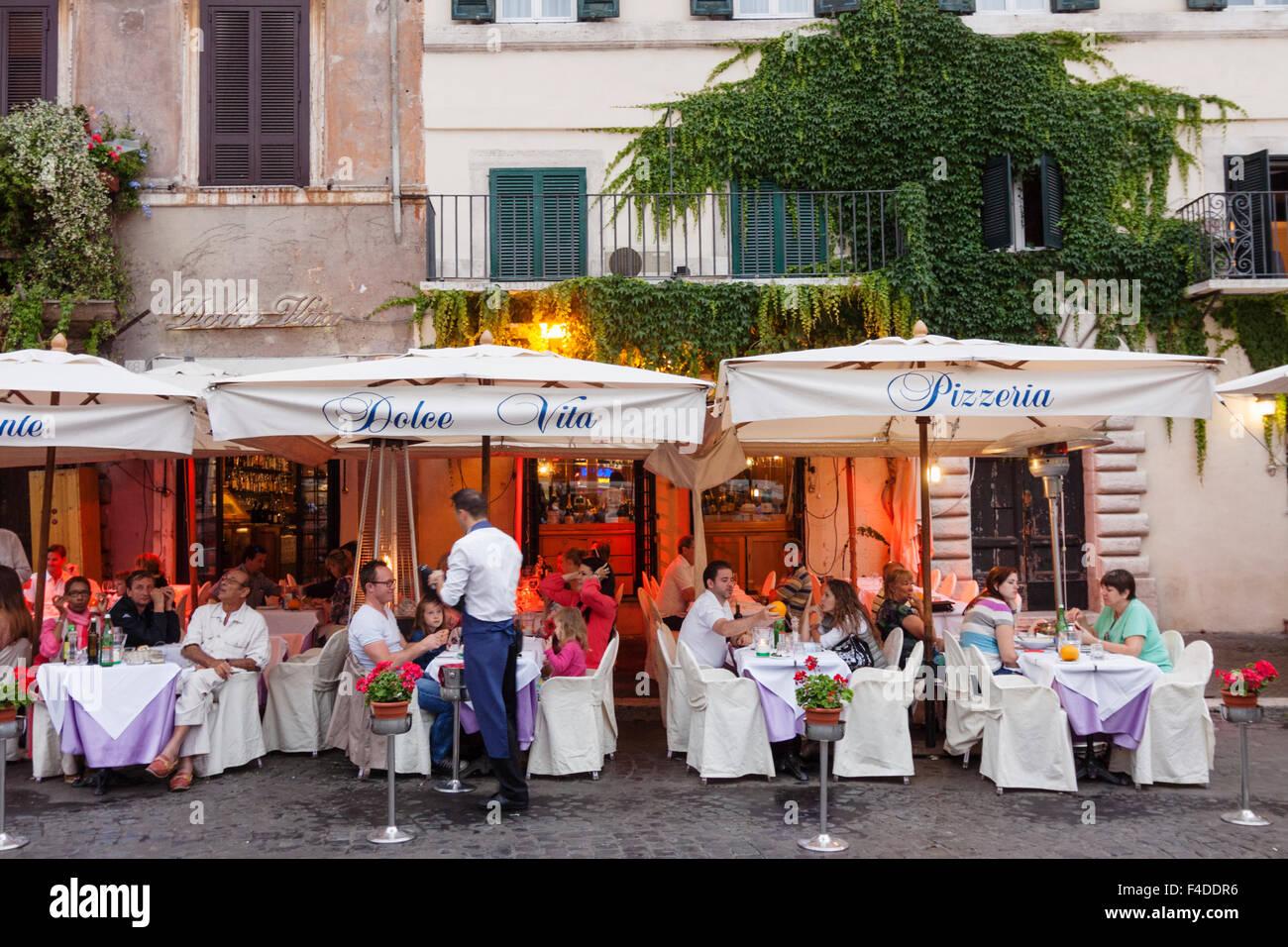 Alfresco dining at Piazza Navona, Rome, Italy - Stock Image
