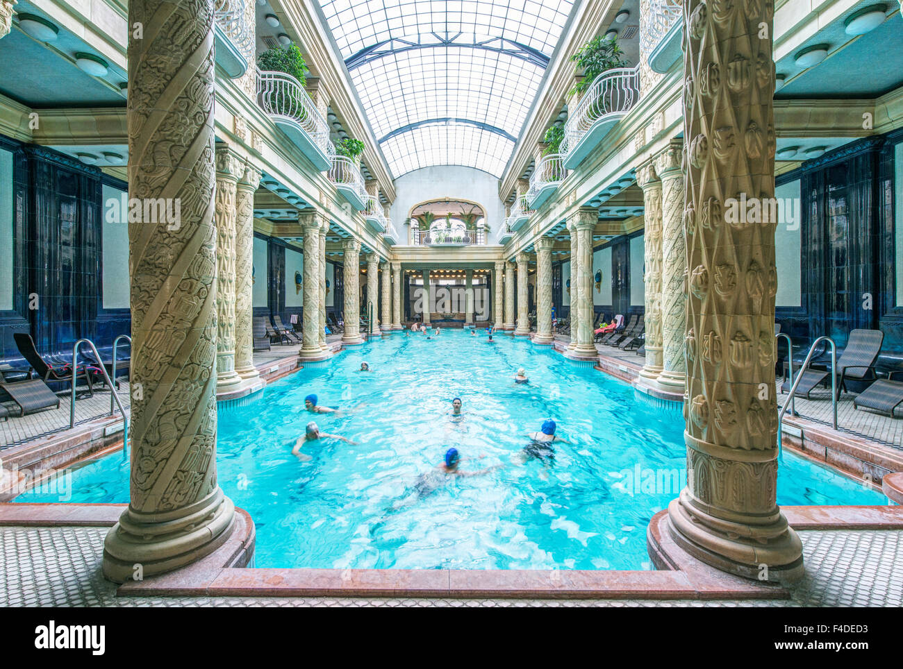 Hungary, Budapest, Gellert Baths Indoor Pool (Large format sizes ...