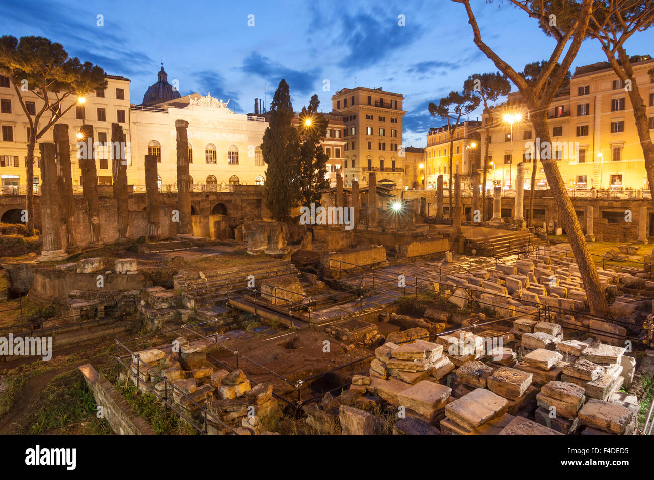 Temple B, dedicated to Fortuna Huiusce Diei. Ancient Rome remains at Largo di Torre Argentina, Rome, Italy - Stock Image
