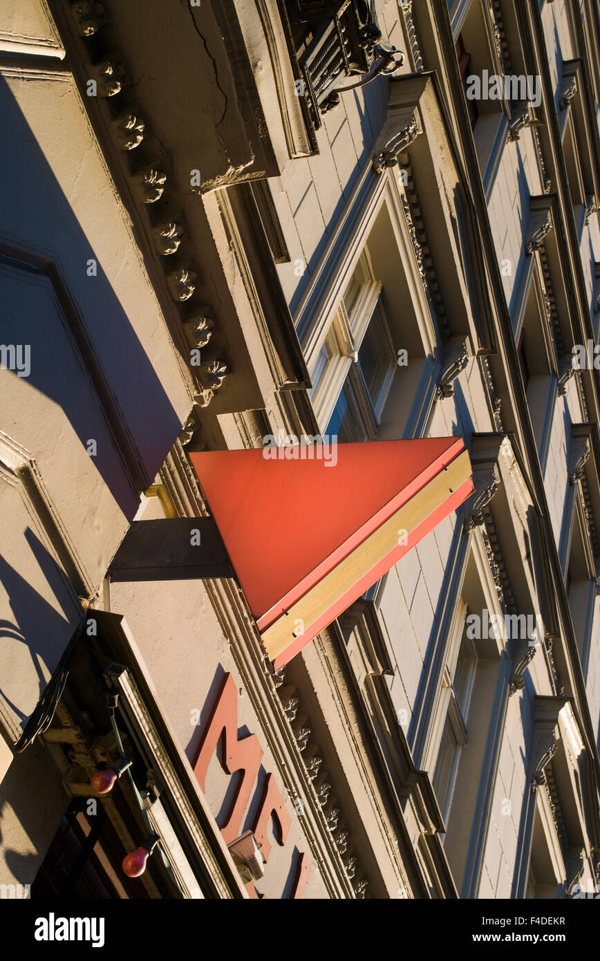 Germany, Berlin, Kreuzberg, Schwules Museum, sign for the Gay Museum, pink triangle was worm by homosexual prisoners - Stock Image
