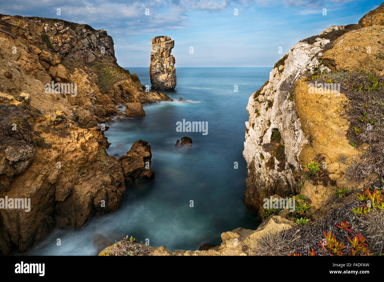 View of the the sea and rocks in Peniche, Portugal - Stock Image