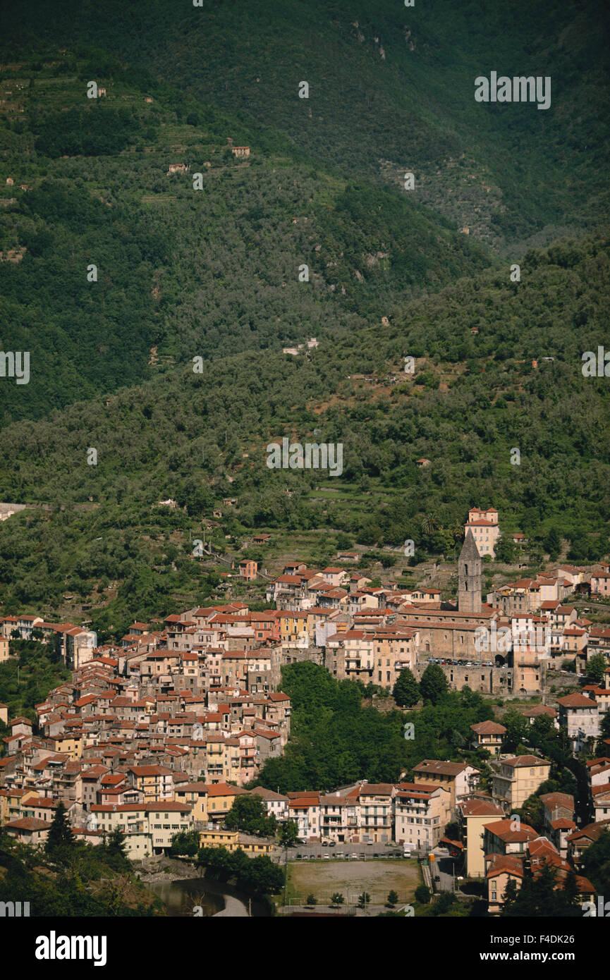 Italy, Liguria, Noli, Italian Riviera, Vittorio, Morning view of city. (Large format sizes available) - Stock Image