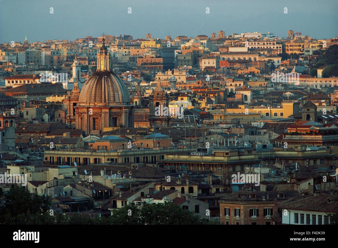 Italy Rome Piazza Garibaldi Janiculum City At Sunset