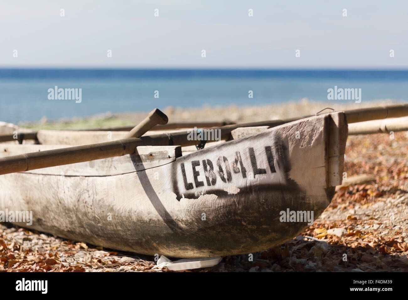 Canoe at a tropical beach in East Timor - Stock Image