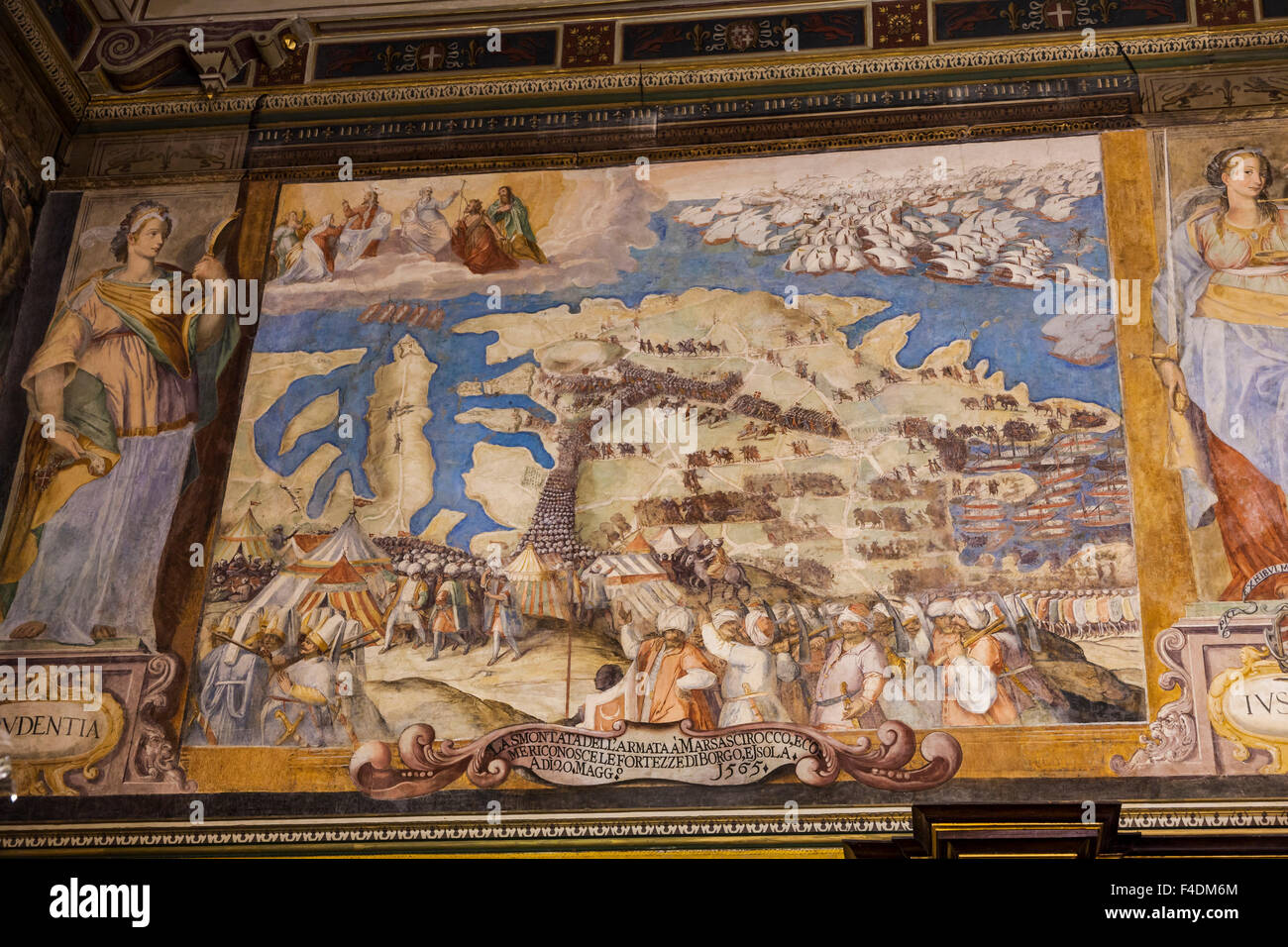 The Grandmasters Palace in Valletta the capital of Malta and listed as UNESCO world heritage, Interior, painting - Stock Image