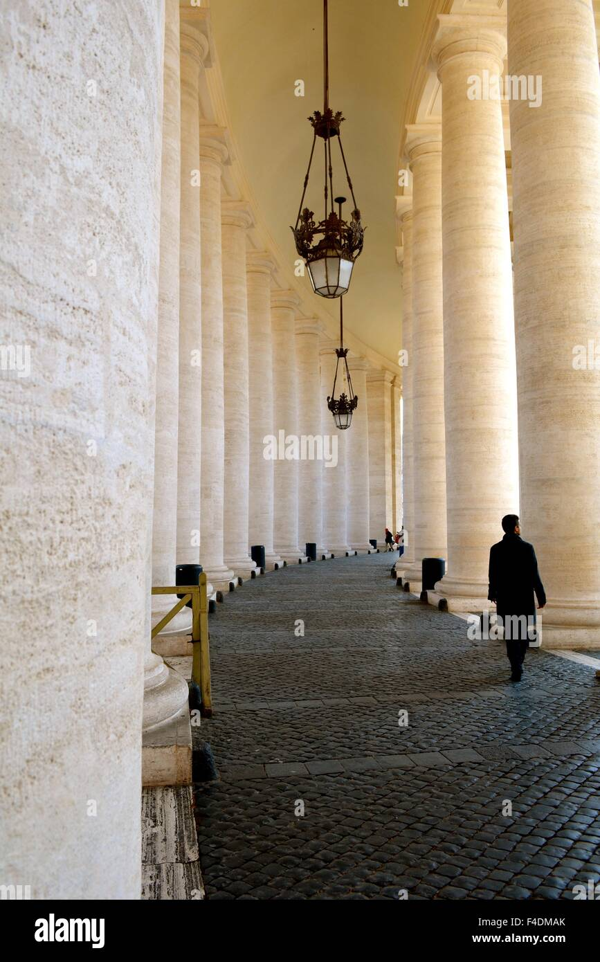 Columns in St Peter's Square in the Vatican, Rome, Italy - Stock Image