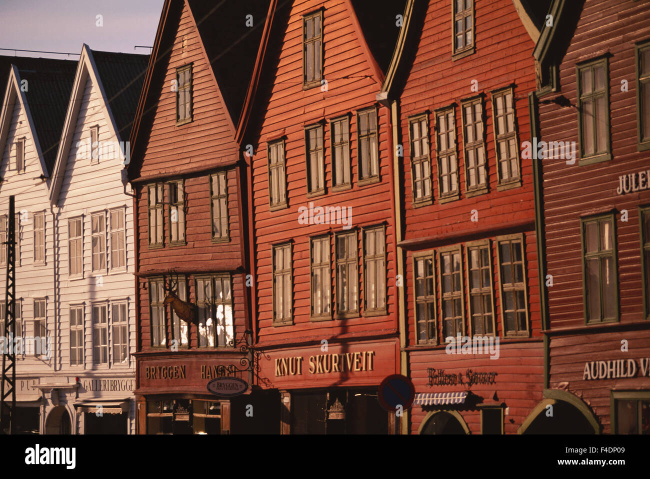 Norway, Hordaland, Bergen, Bryggen, Hanseatic Warehouses. (Large format sizes available) - Stock Image