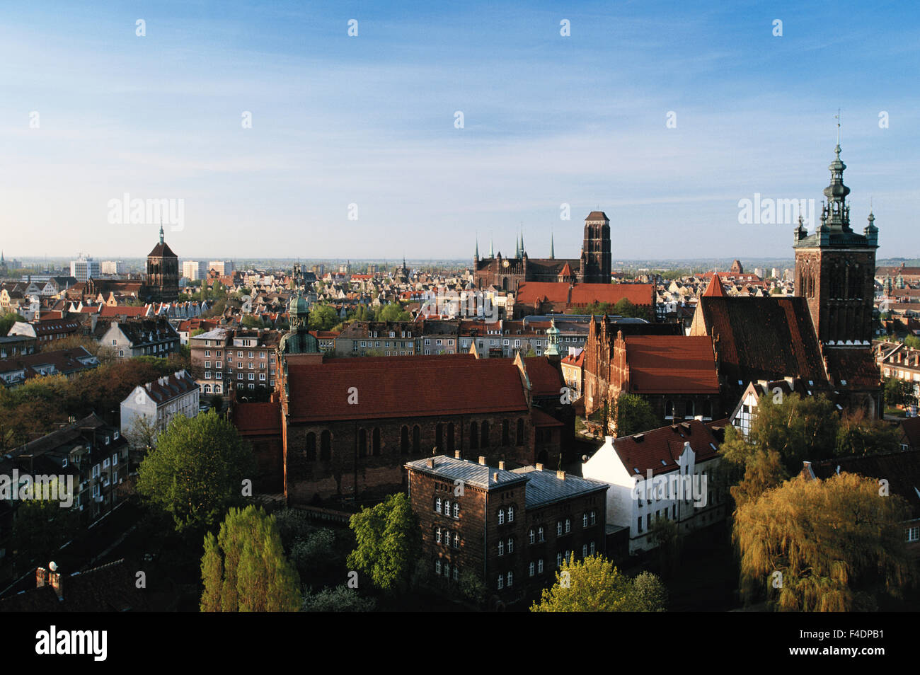 Poland, Pomerania, Gdansk, St Mary's and St Joseph's churches at morning. (Large format sizes available) - Stock Image