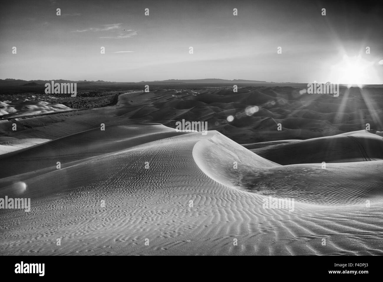 Sunrise over a stark black and white desert landscape, sand with waves of texture In the Imperial Sand Dunes near - Stock Image