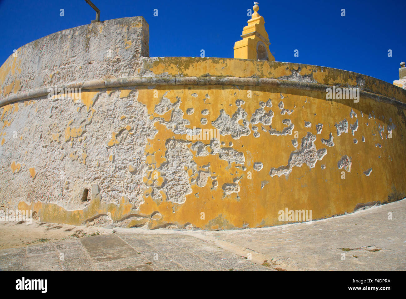 detail of the round bastion enclosing the Peniche Fortress - Stock Image