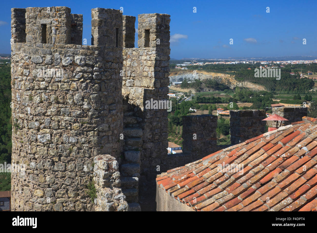 One of the many towers on the periphery of the fortress in Obidos. - Stock Image