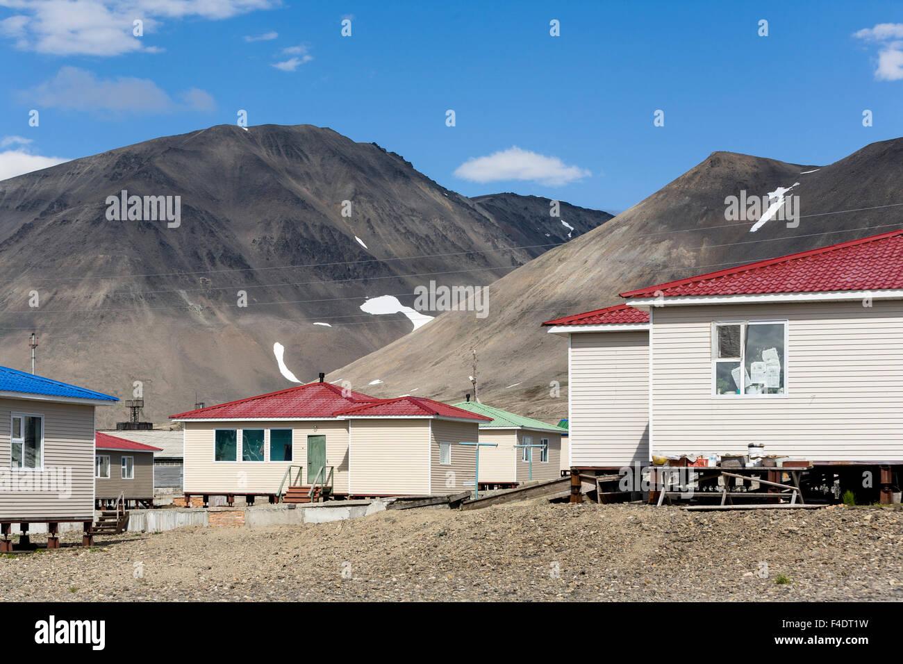Russia, Chukotka, Chaplino Village, View of elevated prefab homes