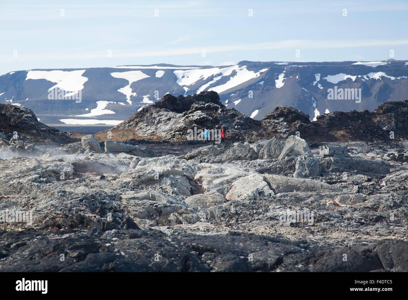 Smouldering lava field at Leirhnjukur, Krafla volcanic area, Myvatn, Nordhurland Eystra, Iceland. - Stock Image
