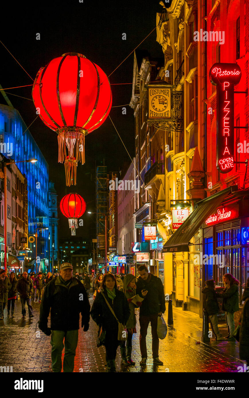 England, London, Soho, Chinatown, Wardour Street, Chinese lanterns, evening Stock Photo