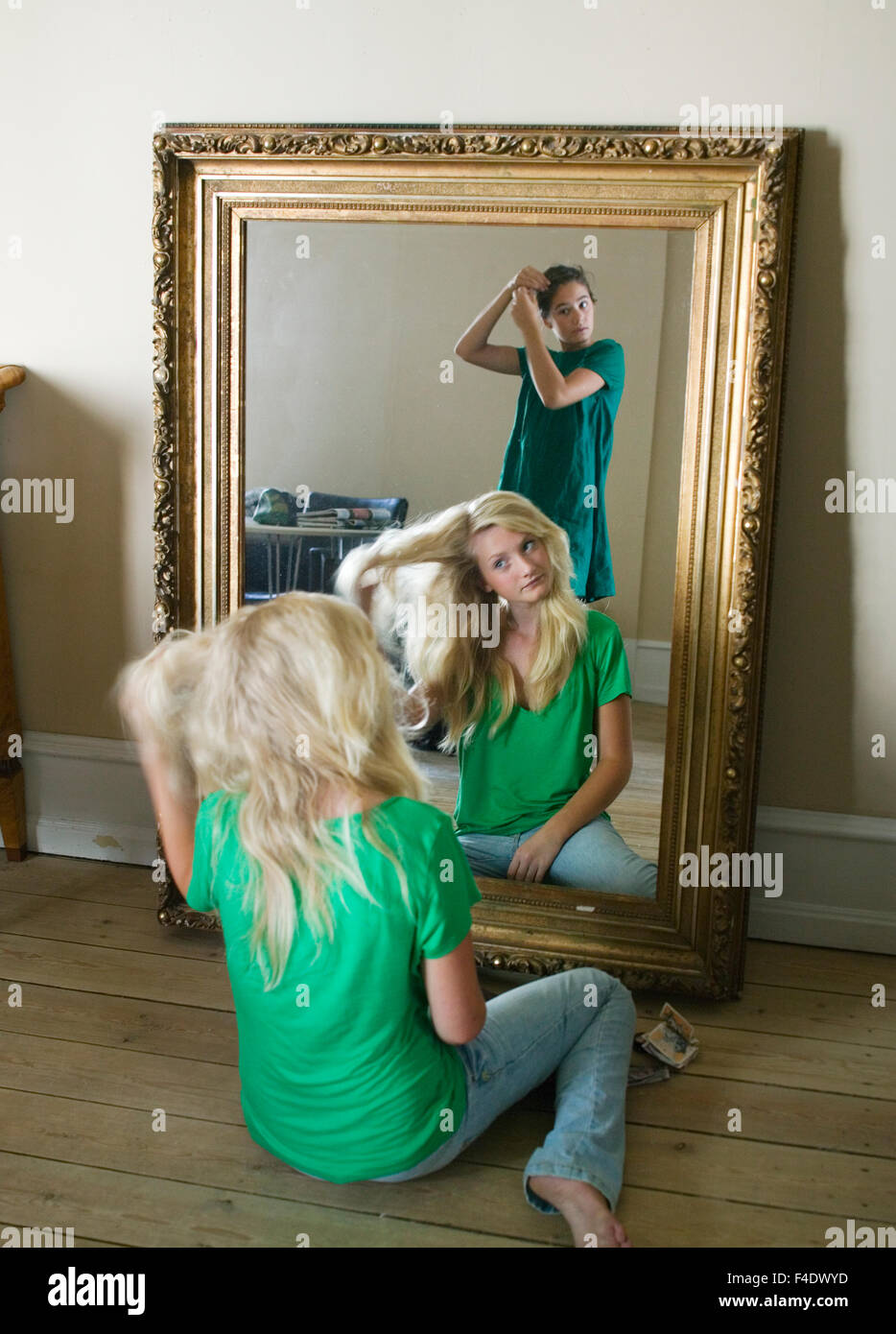 Teenge Girls In Front Of A Mirror Stock Photo 88816209 Alamy