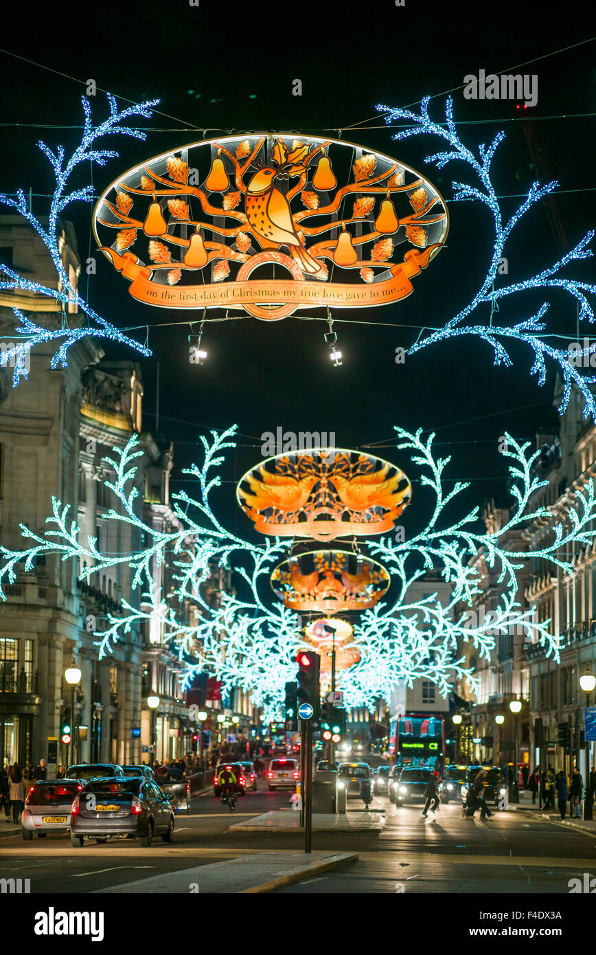 England, London, Soho, Regent Street, Christmas decorations - Stock Image