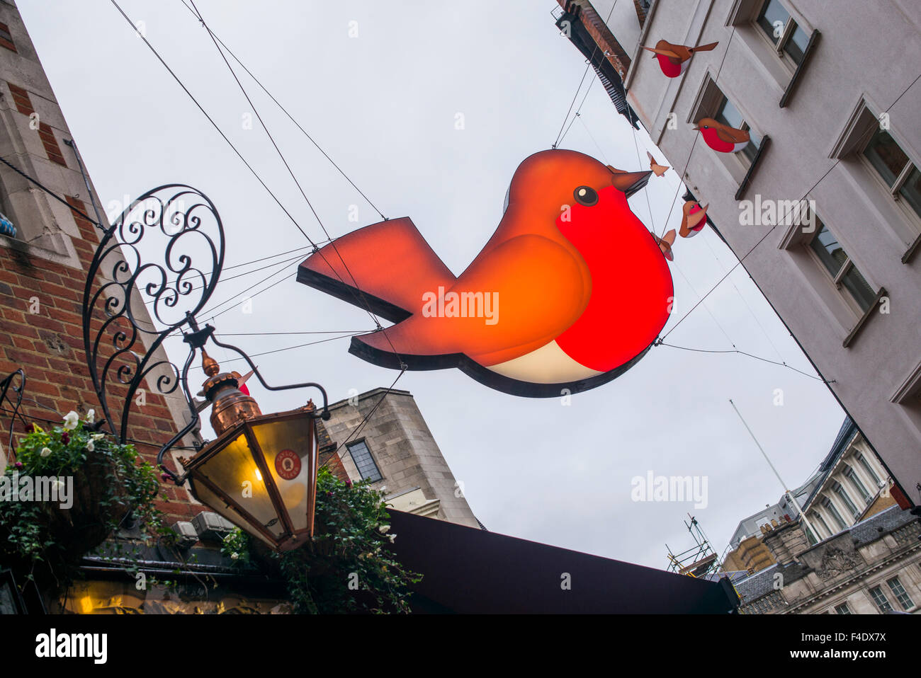 England, London, Soho, Carnaby Street, Christmas signs - Stock Image