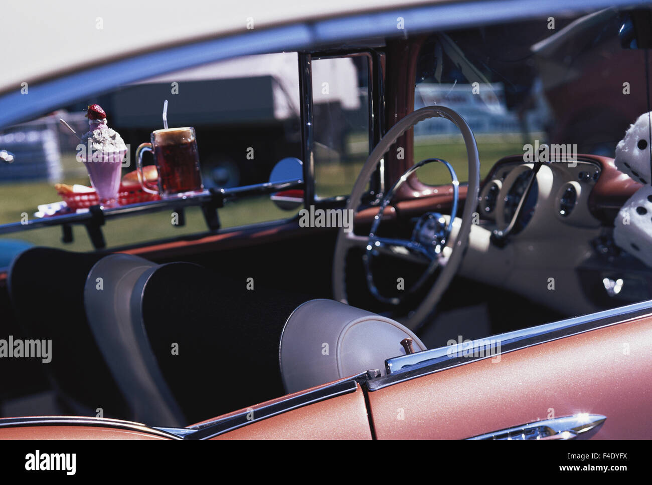 Sports Coupe Stock Photos Images Alamy 1957 Chevy Bucket Seats Chevrolet Bel Air Interior With Hanging Fuzzy Dice Large Format Sizes