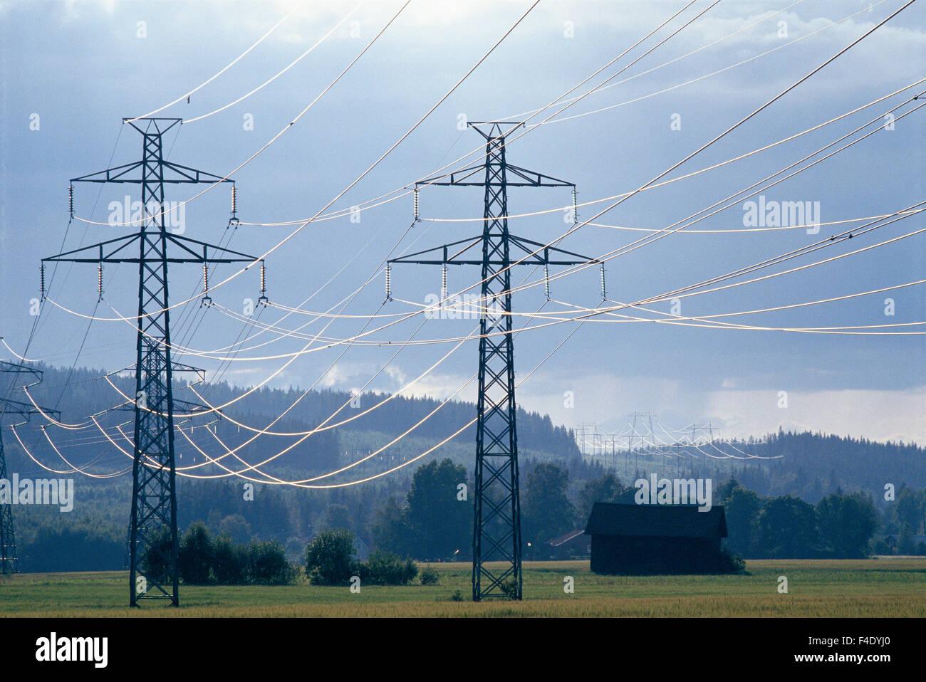 Power transmission lines, Dalarna, Sweden. - Stock Image