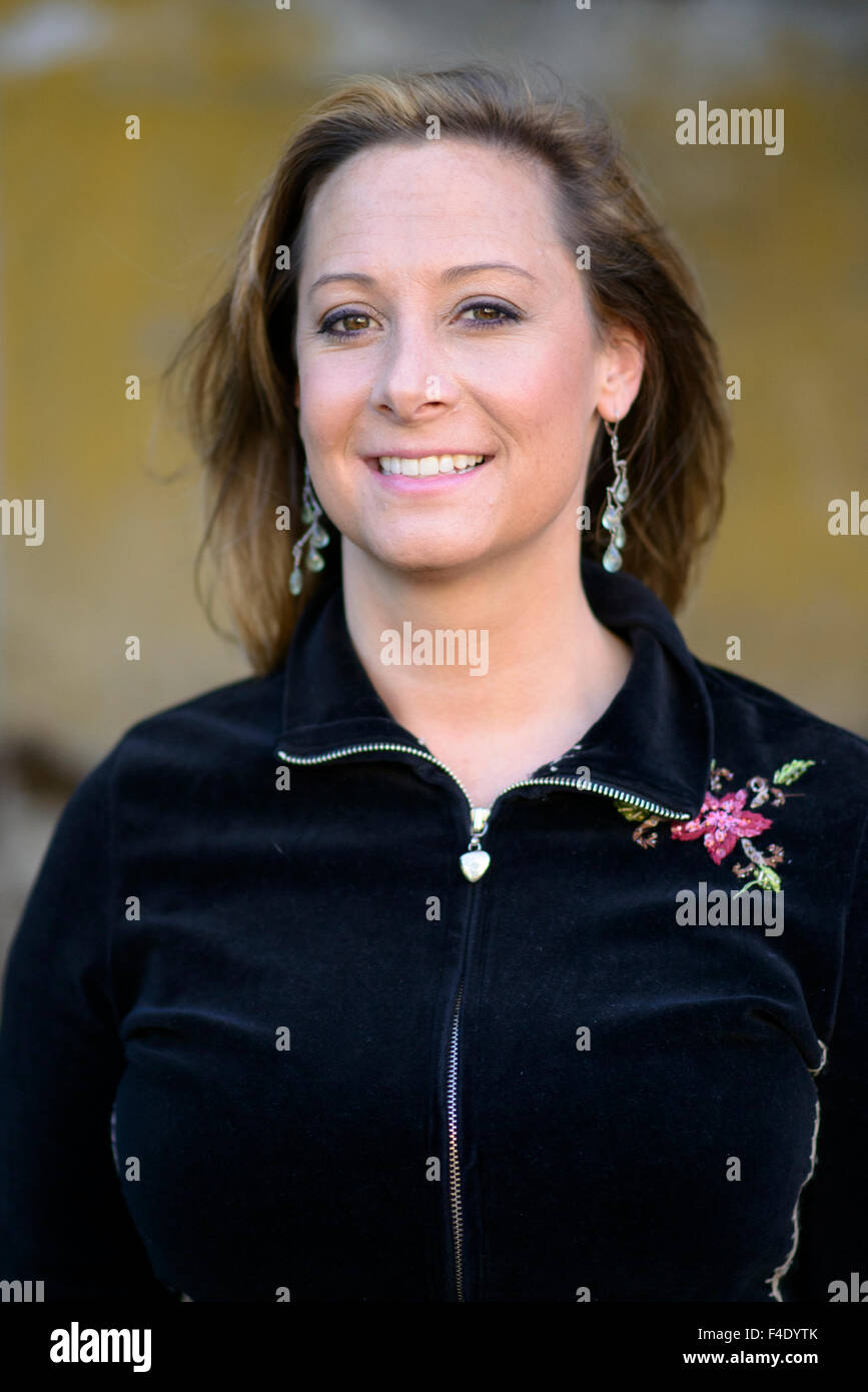 Headshot of 30 year old woman. (MR) - Stock Image