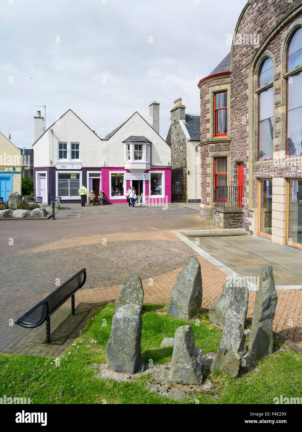 Stornoway, the largest town. Pedestrian area. Europe, Scotland (Large format sizes available) - Stock Image