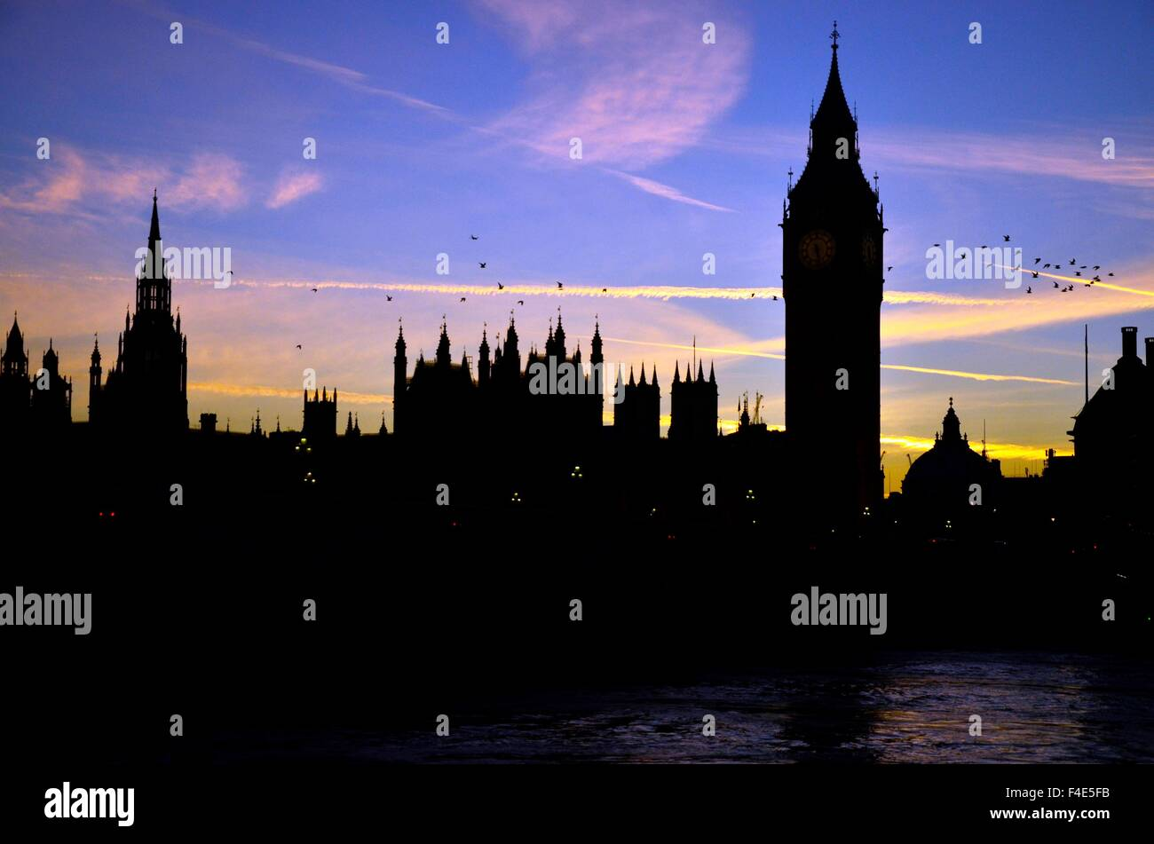 Houses of Parliament at Sunset, Westminster, London, England, UK - Stock Image