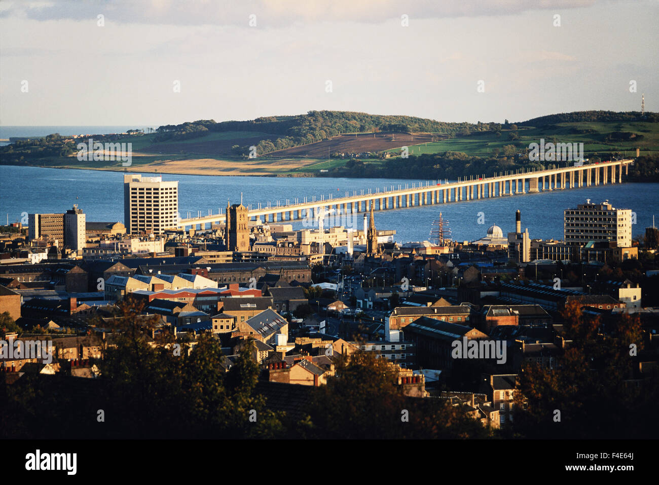 Scotland, Dundee. Dundee and Tay bridge across Tay River. (Large format sizes available) - Stock Image