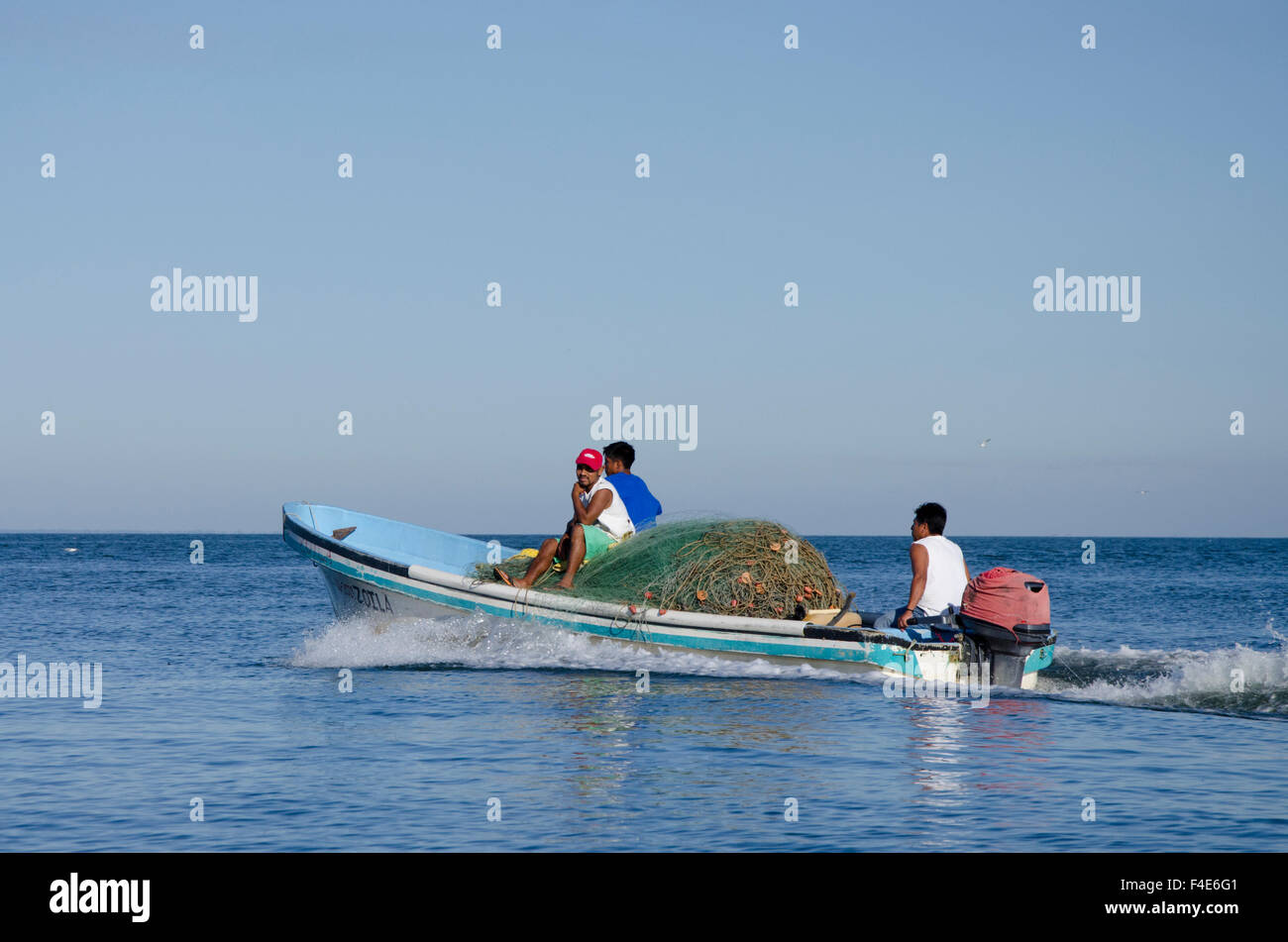 Guatemala, Izabal, Livingston. Port town located at the mouth of the Rio Dulce at the Gulf of Honduras. Fishermen Stock Photo