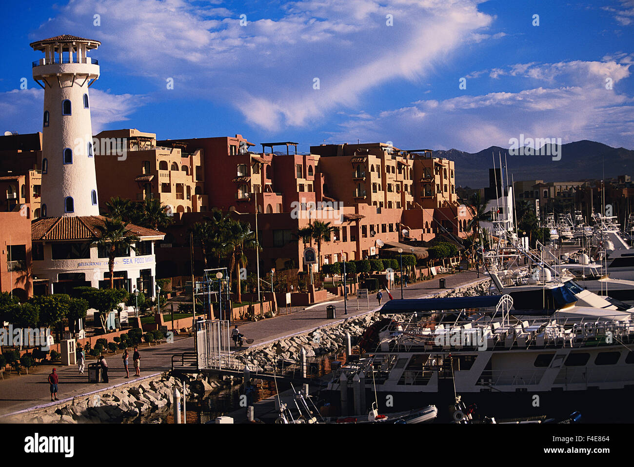 Mexico, Baja California Sur, Cabo San Lucas, Morning view of town and harbor. (Large format sizes available) - Stock Image
