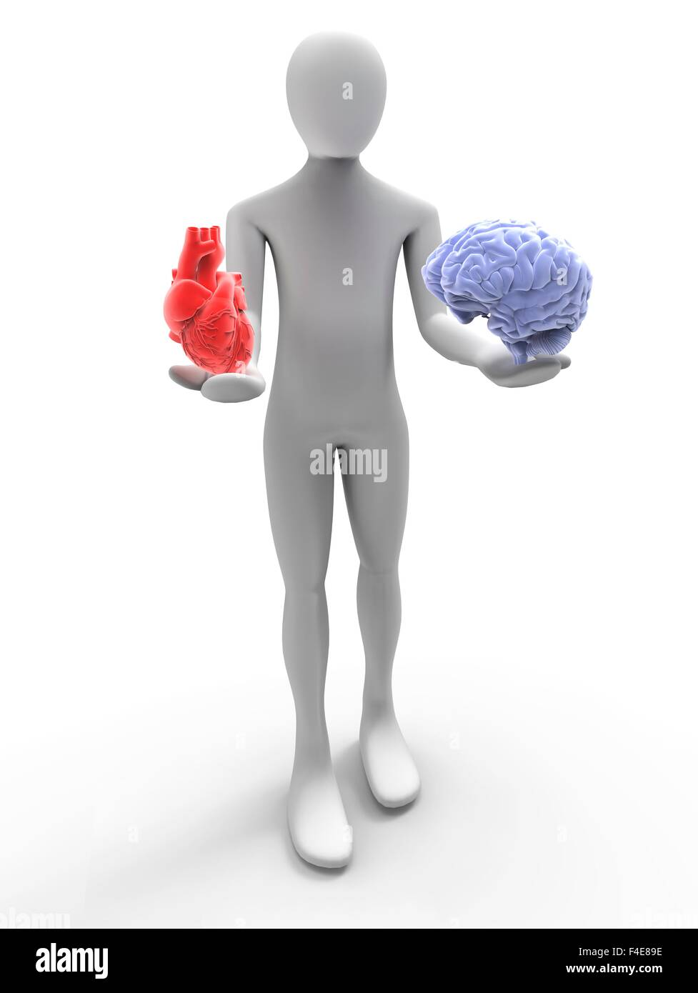 3D man with heart and brain - Stock Image
