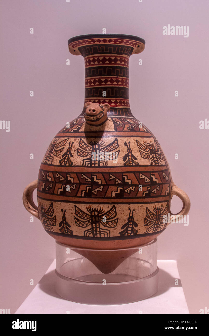 Pre-Colombian ceramic art in Larco Museum, Lima, Peru. - Stock Image