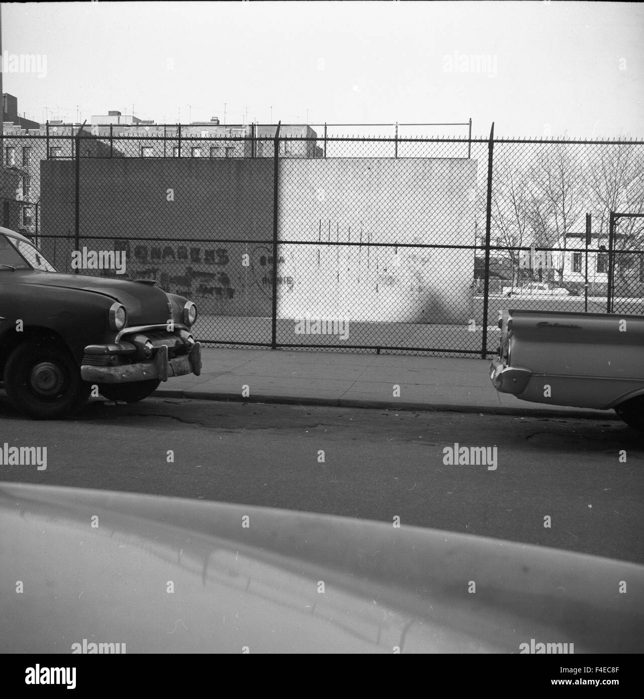 1950s cars parked on street in front of area with graffiti - Stock Image