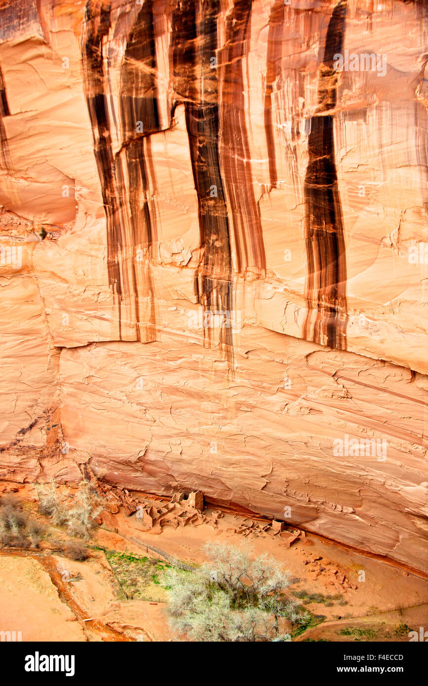 Desert patina paints the rock walls above Antelope House, and ancient Anasazi or ancestral Puebloan ruin in Canyon - Stock Image
