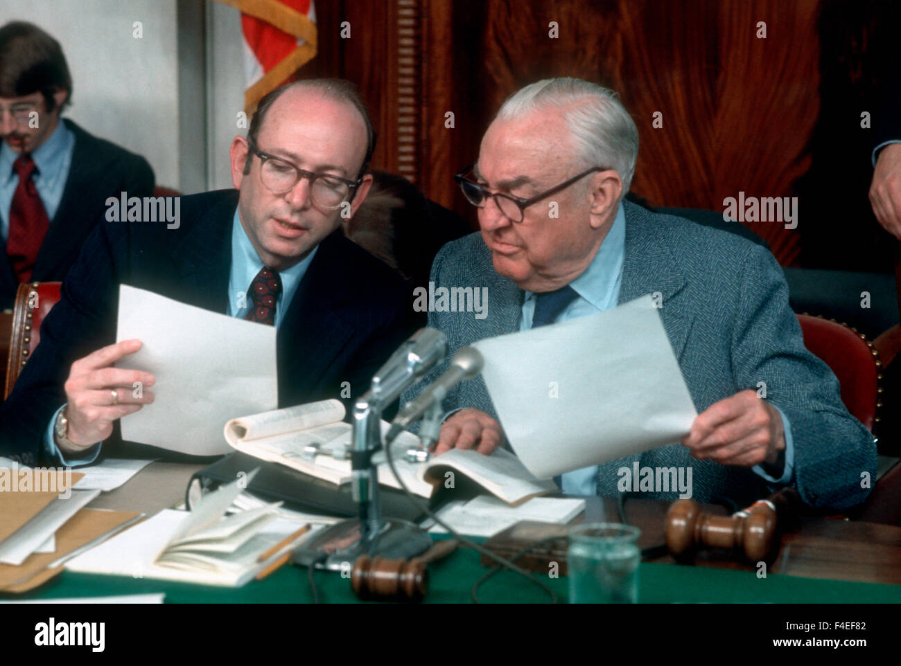 Chief counsel Sam Dash talks with Committee Chairman Senator Sam Erwin during a Watergate hearing in May 1973. - Stock Image