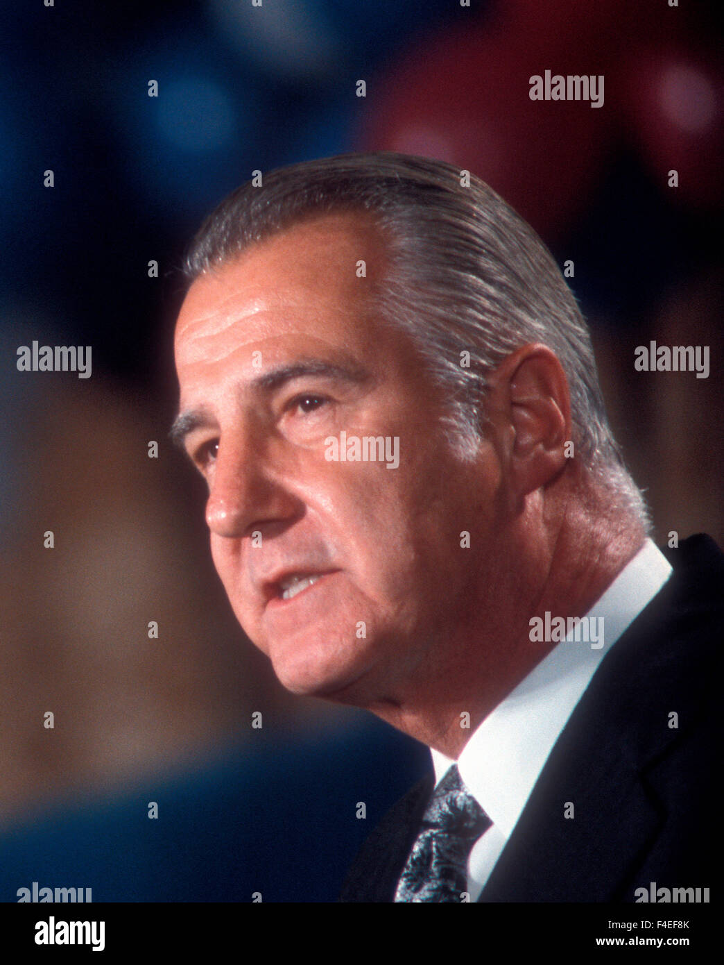 Vice President Agnew during the celebration of Nixon winning a second term. - Stock Image