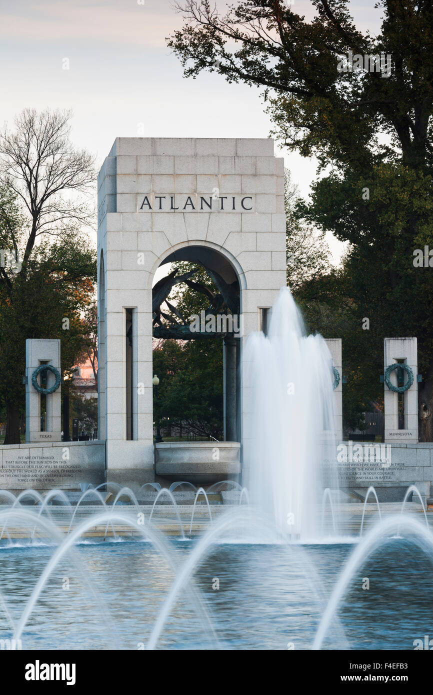 USA, Washington DC, World War Two Memorial, dawn - Stock Image