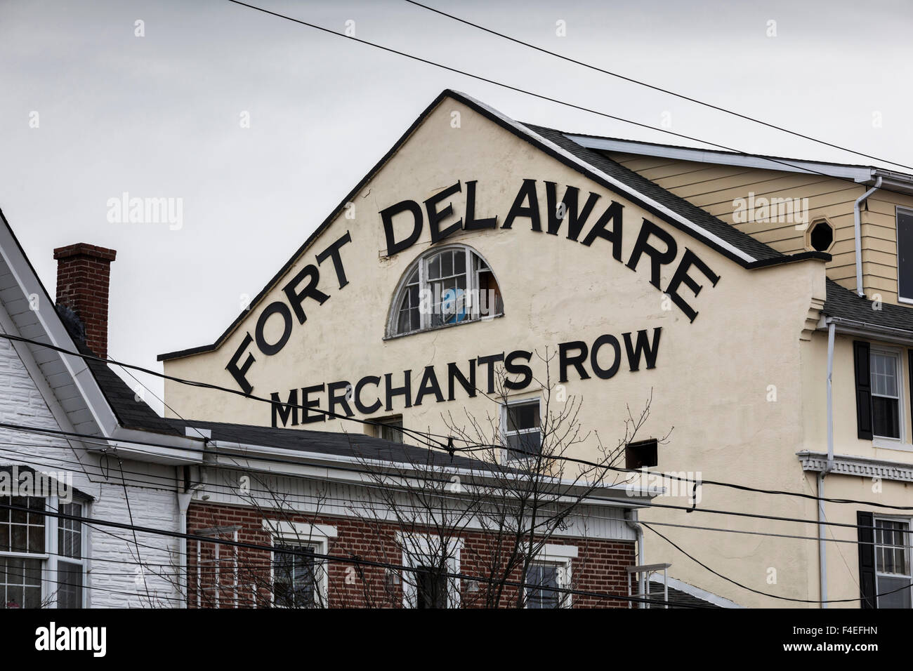 USA, Delaware, Delaware City, sign for Merchant's Row - Stock Image