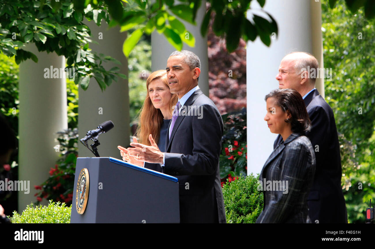 President Barack Obama announces the selections of Susan Rice as National Security Advisor, and Samantha Power as - Stock Image