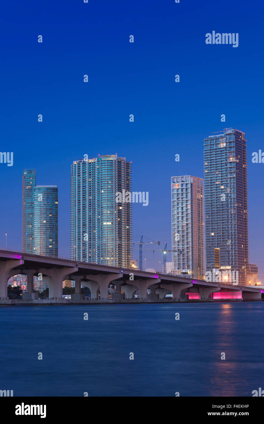 USA, Florida, Miami, city skyline from Venetian Causeway, dawn. - Stock Image