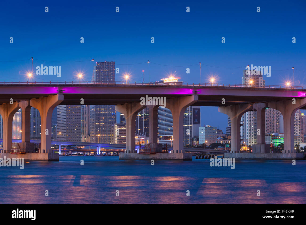 USA, Florida, Miami, city skyline from Venetian Causeway, dawn. - Stock Image