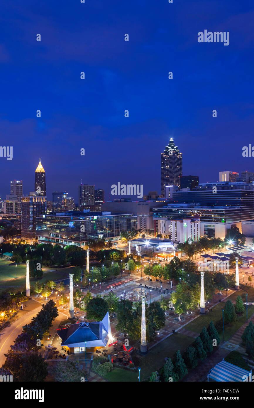 Georgia, Atlanta, Centennial Olympic Park, elevated city view, dusk - Stock Image