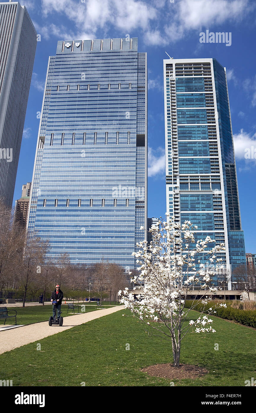 View of Blue Cross Blue Shield Tower and 340 on the Park skyscrapers from Daley Bicentennial Plaza in Grant Park, Stock Photo