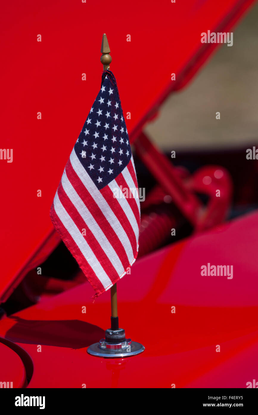 Massachusetts, Gloucester, Antique Car Show, US flag - Stock Image