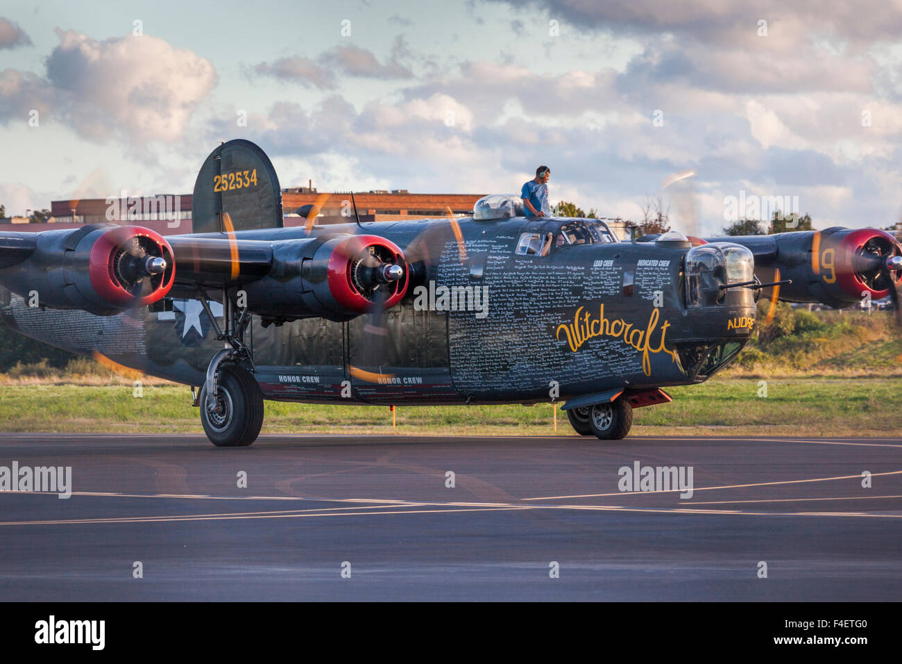 Massachusetts, Beverly, Beverly Airport, WW2-era B-24 Liberator bomber - Stock Image